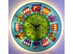 Fairy-Tale Train Light-up Wall Clock, Kids clock, Boys clock, Silent wall clock, Large wall clock Wall Clock Light, Wall Clocks, Night Light, Light Up, Clock For Kids, Boys Room Decor, Gifts For Boys, Baby Shower Gifts