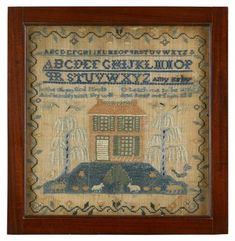 """Needlework sampler  """"amy kirby,"""" burlington county, new jersey  A strawberry vine encloses alphabet, pious verse, house on hillock with animals, flanked by trees and birds, worked with silk threads on a linen ground, framed.  10 5/8 in. x 10 1/4 in. (sight)  PROVENANCE:  Burlington County Historical Society  Estimate $3,000-5,000"""