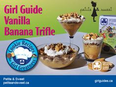 No, we don't have a new Girl Guide Banana cookie flavour! But we do have a recipe from Elle Daftarian and Caspar Haydar, of Petite and Sweet for a Girl Guide Vanilla Banana Trifle! Check out their rec Cookie Flavors, Cookie Recipes, Girl Guide Cookies, Banana Trifle, Brownies Girl Guides, Trifle Recipe, Vanilla Cookies, Good Food, Fun Food
