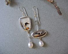 Asymmetrical Earrings Montana Agate Pearls Dangle by betsybensen