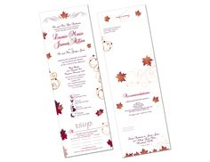 "Fall Leaves Seal and Send Wedding Invitations! Save time and money! Seal and Sends include 4 panels for you to incorporate all your important wedding information: RSVP's, Ceremony info, Reception info, Timeline, Map, and Accommodations. You have a 6""x18"" space to work with and when the invitation is folded up it will be 4""x6"" It takes one 49 Cent stamp to mail a seal and send and includes a tear off rsvp card."