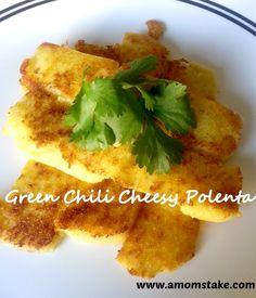 Green Chili Cheesy Polenta #Recipe #Food