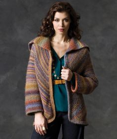 Echoing colors form a vee pattern on the back and are placed on the diagonal for the fronts. Knit in beautifully shaded yarn, this jacket is a wonderful addition to any wardrobe