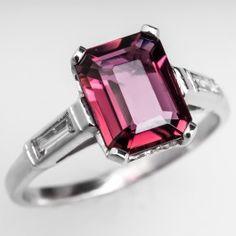 Vintage 1.90ct Rubellite Tourmaline Engagement Ring w/ Baguette Diamond Accents Platinum