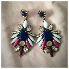 Navy Crystal Stud Drop Statement Earrings One of my favorite jewelry pieces that I kept for myself as well. These are just fabulous!!!! ALL JEWELRY IS BUY 2 GET 1 FREE Jewelry Earrings