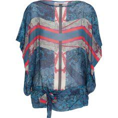 Kleurrijke semitransparante blouse met korte vlindermouwen. Stijl de blouse naar wens met de ceintuur en geef je look een speels effect. Combineer met een skinny jeans en stoere boots.