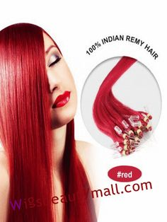 Highlights 34 Inches 100 Strand Straight Micro Loop Ring Indian Remy Human Hair Extensions Red