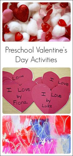 Valentine activities for preschoolers to enjoy - arts and crafts, sensory play, science, literacy, math, and a treat!