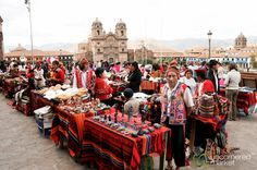 A spherical panorama of the monthly indigenous handicrafts market at the Plaza de Armas in Cusco (Cuzco), Peru.