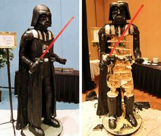"""This is what Vader looks like when he's a 500-pound, 6'7"""", 600-serving cake--before and after the 501st attacks with a cake knife. (Cake by Oakleaf Cakes: http://j.mp/RgZo1f)"""