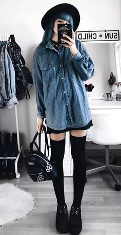 Oversized black round hat with necklace, oversized denim shirt, black dress underneath, thigh high black socks & creeper sneakers by deaddsouls
