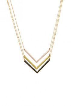 Triple Chevron Necklace in Olive