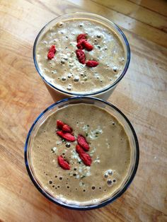 The Best Smoothie Ever!  Goji berries, hemp seeds, cacao, chia seeds, almond butter and greens...oh my!