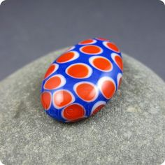 Art glass cabochon Red Hot Polka lampworked and