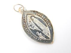 Vintage French Sterling Silver Our Lady of Lourdes Catholic Medal - Religious Charms by LuxMeaChristus