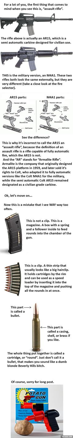 A little education of firearms terminology (I took the time to make this for you I hope you appreciate it)