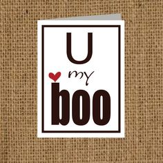 My Boo Valentine Card  Matching Label Option by ToodleLooWS, $2.99