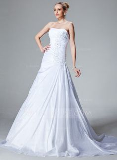 A-Line/Princess Sweetheart Court Train Taffeta Wedding Dress With Ruffle Beading Appliques Lace (002000827) - JJsHouse