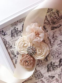Beige Ivory Bridal Vintage Lace Satin Rosette Flower Roses Wedding Sash Belt | eBay I'm making a sash for my dress in blush, this is pretty!