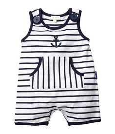 Le Top Anchors Aweigh Nautical Stripe Sleeveless Romper w/ Pouch Pocket (Infant) (White) - Apparel Baby Outfits, Newborn Girl Outfits, Toddler Outfits, Kids Outfits, Baby Boy Dress, Funny Baby Clothes, Babies Clothes, Camo Baby Stuff, Baby Must Haves