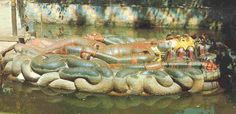 Here is the beautiful reclining Deity of Lord Vishnu situated in a pond near Kathmandu, Nepal.