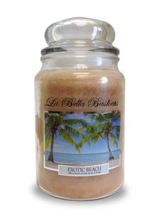 Exotic Beach   La Bella Baskets Signature Large Scented Jar Candles - The ozonic scent of warm coastal breeze swirled with delicate nuances of blooming orange flower, powdery musk, and a hint of sparkling citrus.