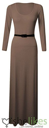 WOMENS LADIES LONG SLEEVE ROUND SCOOP JERSEY BELTED LONG MAXI DRESS TOP 826MochaUK 2426 95 Viscose 5 Elastane ** Read more reviews of the product by visiting the link on the image. Note: It's an affiliate link to Amazon.