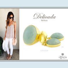 Luce bella con este encantador juego de oro amarillo de 18k y Agua Marina. ¡Brilla siempre con Effigia! #Outfit #AguaMarina