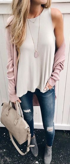 #winter #outfits pink long cardigan