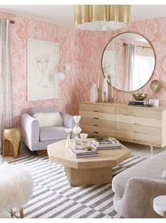 Pink Agate Wallpaper by Sarah Sherman Samuel with Lulu & Georgia! Shop the look #LANDGATHOME pink wallpaper // glamourous decor // living room ideas