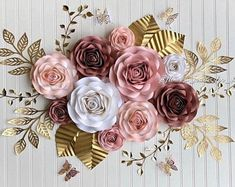 Set of 10 roses nursery paper flowers nursery decor nursery Paper Flowers Craft, Paper Flower Wall, Paper Flower Backdrop, Giant Paper Flowers, Flower Wall Decor, Paper Roses, Flower Crafts, Flower Decorations, Tulle Backdrop