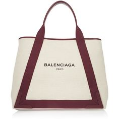 Balenciaga Leather-trimmed canvas tote (1 350 AUD) ❤ liked on Polyvore featuring bags, handbags, tote bags, white canvas tote, white canvas tote bags, weekender tote, white tote bag and canvas tote bag