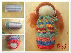 Babaszövés papírhengeren (doll weaving on paper roll)