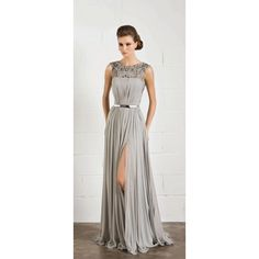 Grey Prom Dresses  Grey Beaded Chiffon Long Prom Dress With Slit Skirt Prom Fgurgxn