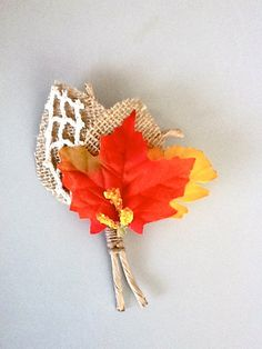 Classic Autumn Boutonniere - Fall Weddings - Groom Groomsmen - Fall Leaves, Orange, Brown, Rustic, Nature. $9.75, via Etsy.