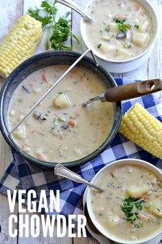 "Vegan ""Clam"" Chowder from the First Annual Fork & Beans Gluten-Free Vegan ""Seafood"" Bake. Whole Food Recipes, Soup Recipes, Vegetarian Recipes, Cooking Recipes, Healthy Recipes, Dinner Recipes, Easy Recipes, Cooking Pasta, Muffin Recipes"