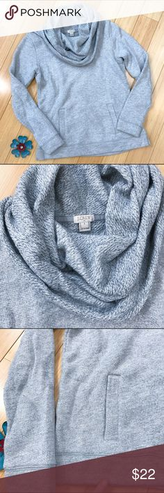 J. CREW cowl neck sweatshirt, S. J.Crew cowl neck sweatshirt, size small. Front kangaroo pockets. Very good gently loved condition, there is one small discoloration on the hem that is very light, see picture. Bust is 19 inches and stretchy, length is 24 inches. The inside of this feels like brushed fleece and is as cozy as a hug. J. Crew Tops Sweatshirts & Hoodies