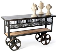 Industrial Rolling Console Table - eclectic - kitchen islands and kitchen carts - new york - Zin Home