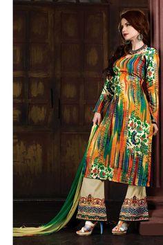 Green Cotton Punjabi Salwar Suit with Dupatta