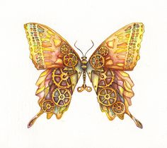 steampunk butterfly | Steampunk Butterfly Original Painting 12x9 by MiraPau on Etsy