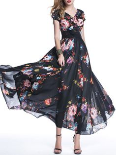 Sleeveless Casual A-line Square Neck Floral-print Maxi Dress
