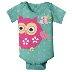 This owl personalized onesie features an adorable owl print. Onesie can be personalized with your little girls name. Shop MyRetroBaby now for baby girl!