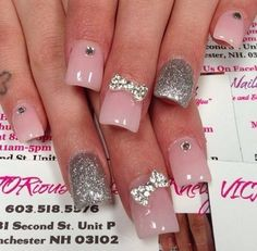 Pink & Silver Bow-Tie Nails(purple)