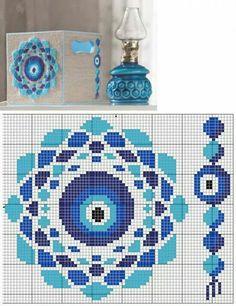 Evil eye x-stitch Biscornu Cross Stitch, Cross Stitch Art, Cross Stitch Designs, Cross Stitching, Cross Stitch Embroidery, Cross Stitch Patterns, Loom Beading, Beading Patterns, Embroidery Patterns