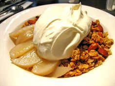 Baked Pears With Maple Greek Yogurt And Granola - Greek yogurt recipes curated by SavingStar Grocery Coupons. Save money on your groceries at SavingStar.com
