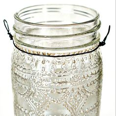 Hand Painted Mason Jar Moroccan Lantern, Henna Inspired Design in White Pearl - on Crystal Clear Glass.