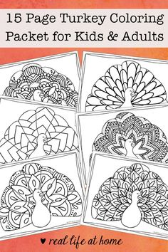 Turkey Coloring Pages (Free Printable Thanksgiving Coloring Pages) Looking for more intricate Thanksgiving coloring pages? Enjoy this free printable Thanksgiving coloring book filled with 15 turkey coloring pages for kids and adults. Thanksgiving Coloring Sheets, Turkey Coloring Pages, Cool Coloring Pages, Cartoon Coloring Pages, Mandala Coloring Pages, Printable Coloring Pages, Coloring Pages For Kids, Coloring Books, Alphabet Coloring