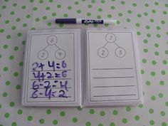 Singapore Math Tips--number bonds to fact families using mini-photo albums and dry erase markers