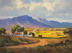 Hannes van der Walt - Morning Glow, Little Karoo Landscape Concept, Abstract Landscape, Landscape Paintings, Watercolor Paintings, Oil Paintings, South African Artists, Canvas Art, Fine Art, Farm Houses