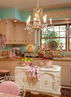 Shabby Chic Kitchen | Shabby Chic.  If I lived by myself a would do this.